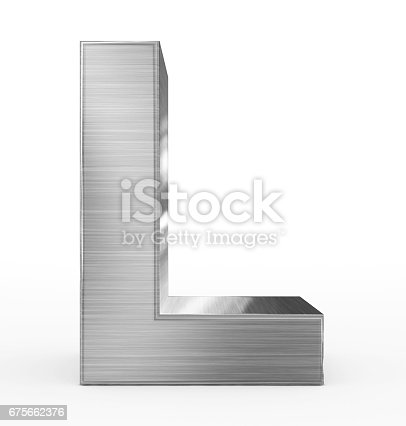 istock letter L 3d metal isolated on white 675662376