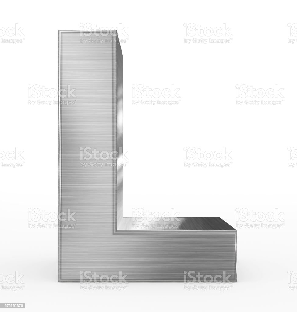 letter L 3d metal isolated on white stock photo