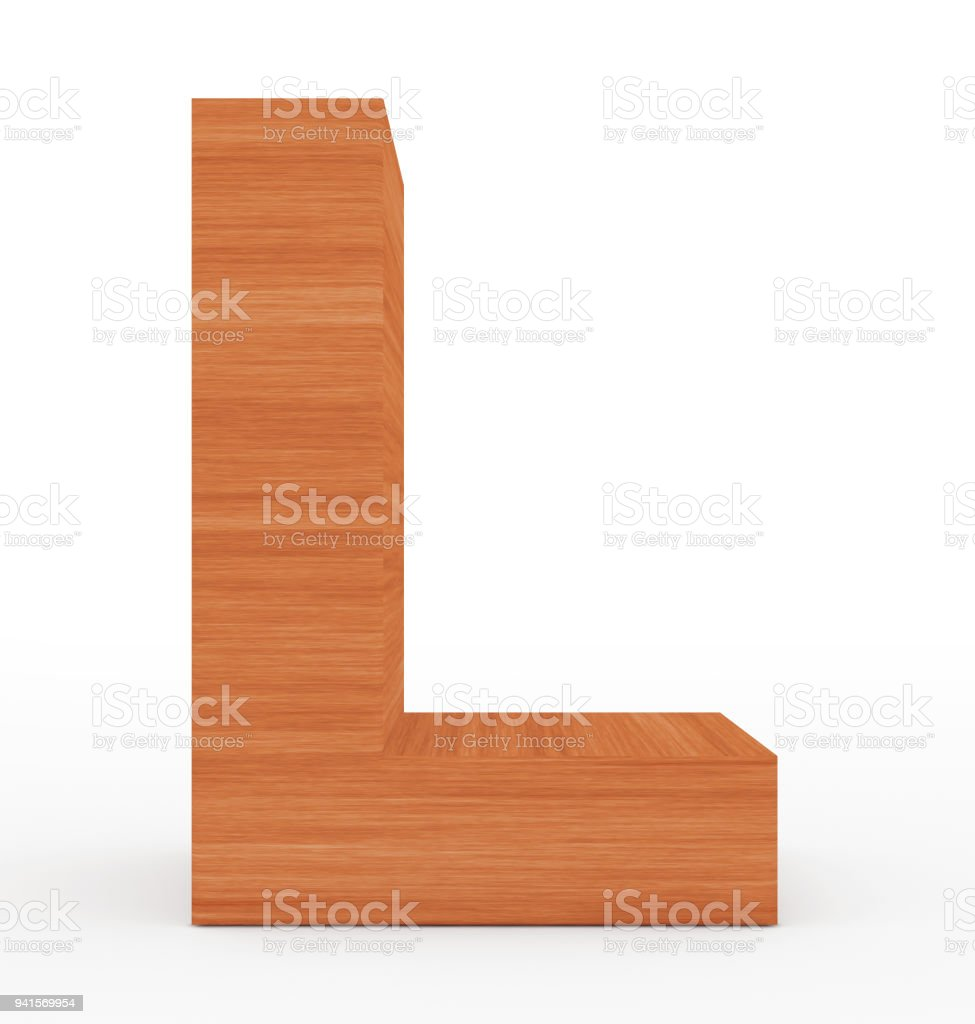 letter L 3d wooden isolated on white stock photo