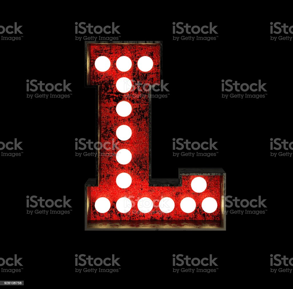 Letter L. Broadway Style Light Bulb Font stock photo