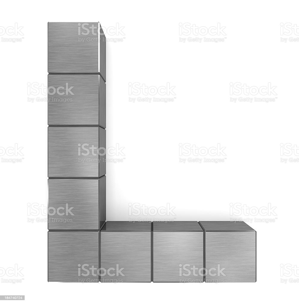 letter L cubic metal royalty-free stock photo