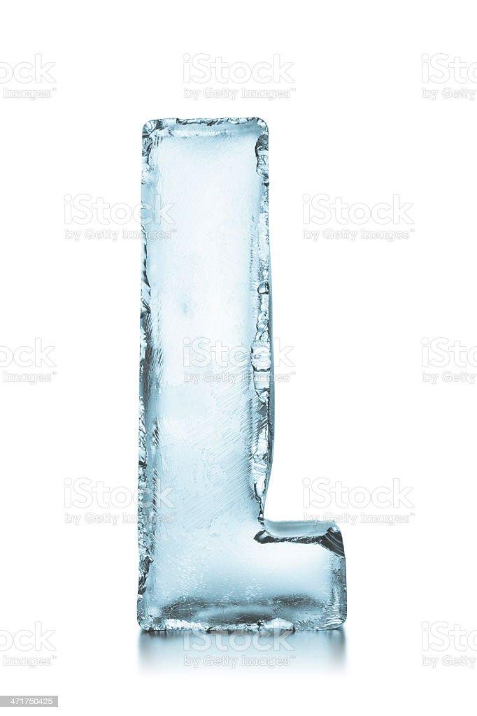 Letter L frozen ice block alphabet stock photo