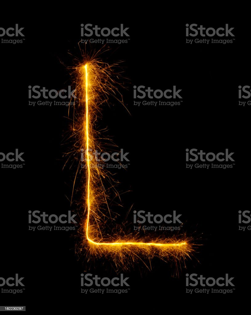 Letter L in Fireworks stock photo