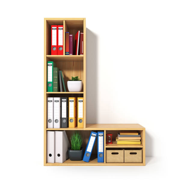 Letter L in the form of shelves with file folder, binders and books isolated on white. Archival, stacks of documents at the office or library. stock photo