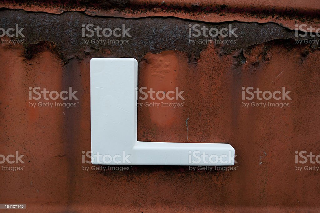 letter L on old metal royalty-free stock photo