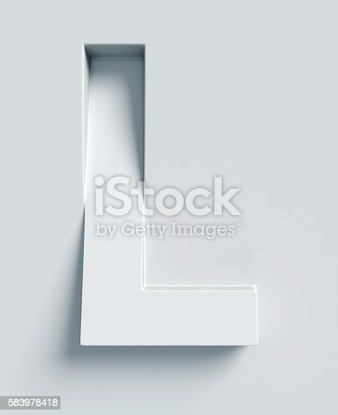 istock Letter L slanted 3d font engraved and extruded from surface 583978418