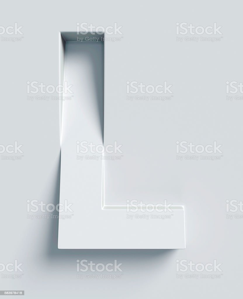 Letter L slanted 3d font engraved and extruded from surface stock photo