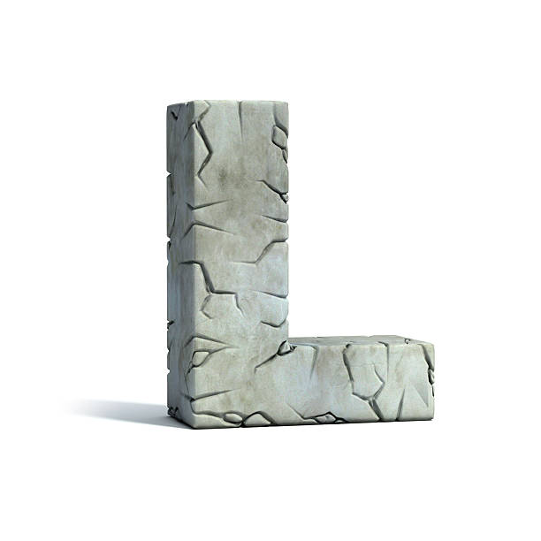 letter l stone 3d font - stone font stock photos and pictures