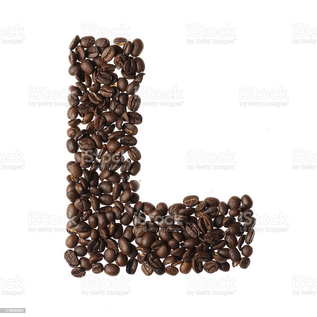 Letter L written with coffee royalty-free stock photo