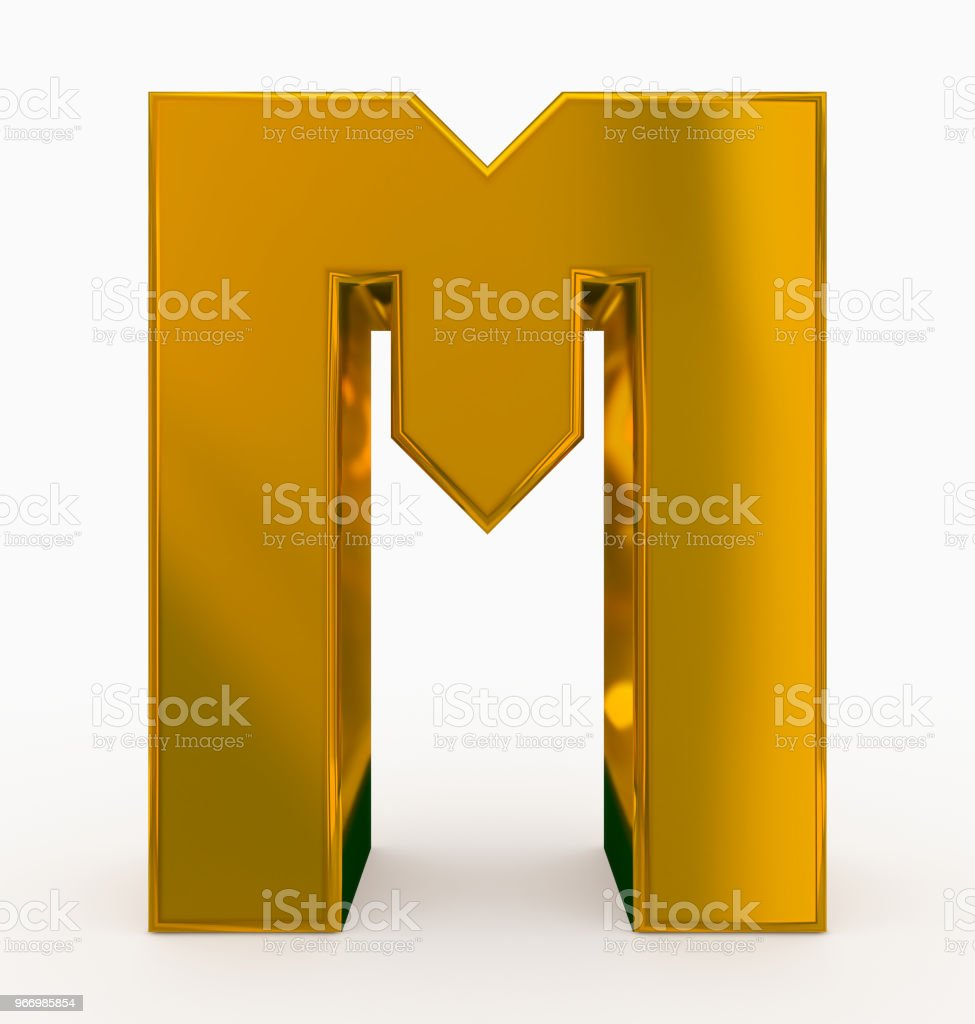 letter M 3d cubic golden isolated on white stock photo