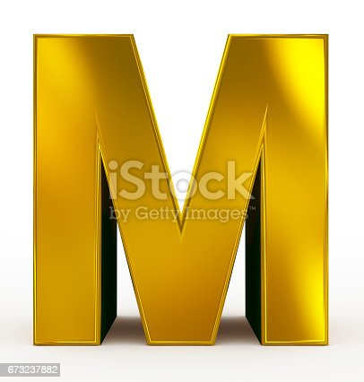 912146278 istock photo letter M 3d golden isolated on white 673237882