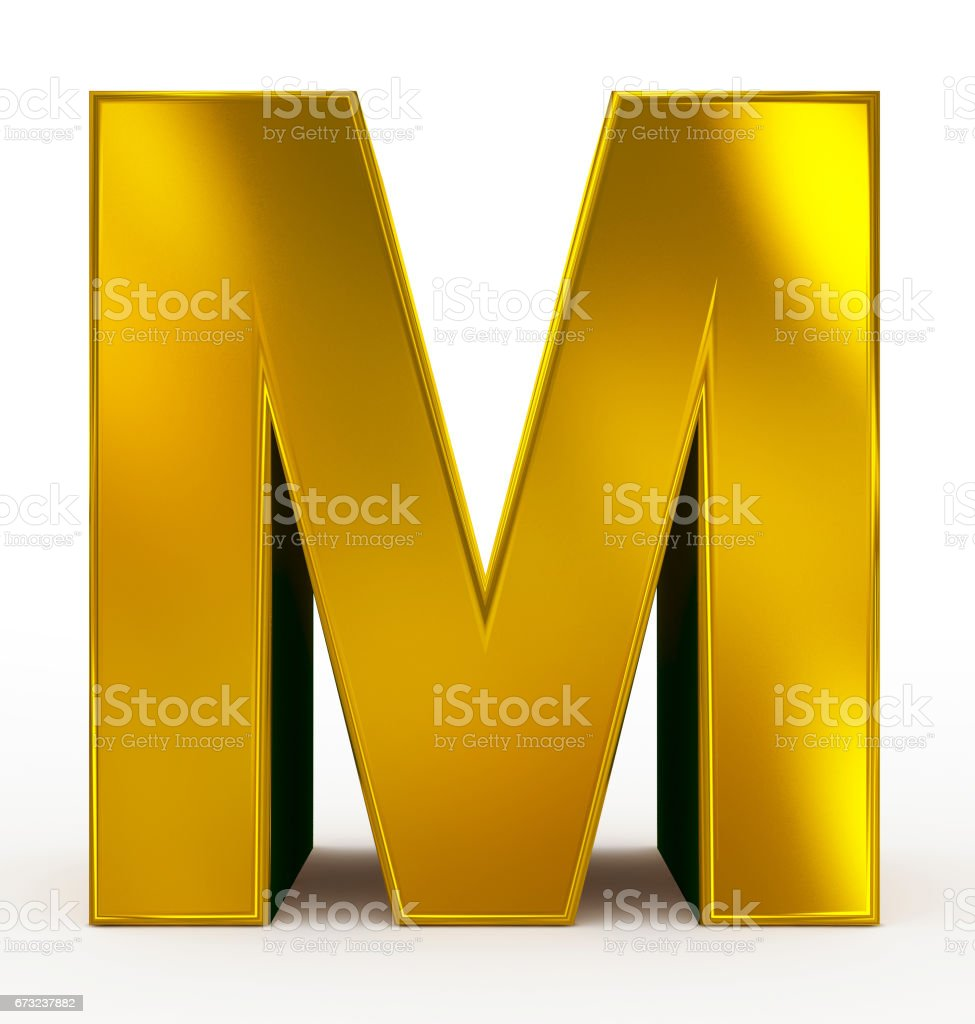 letter M 3d golden isolated on white stock photo