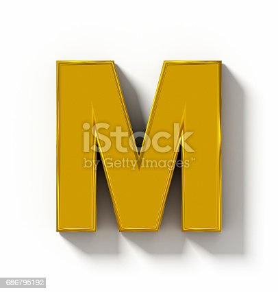 844515966 istock photo letter M 3D golden isolated on white with shadow - orthogonal projection 686795192