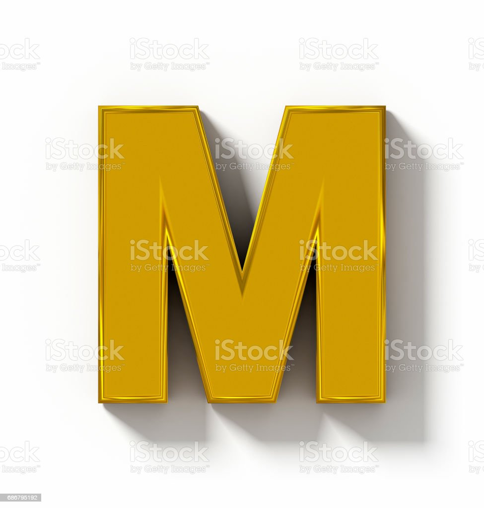 letter M 3D golden isolated on white with shadow - orthogonal projection stock photo
