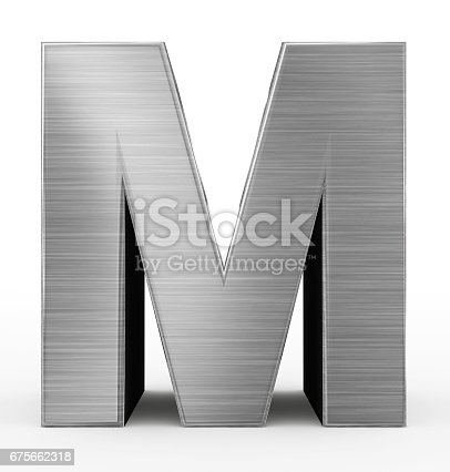 844515966 istock photo letter M 3d metal isolated on white 675662318