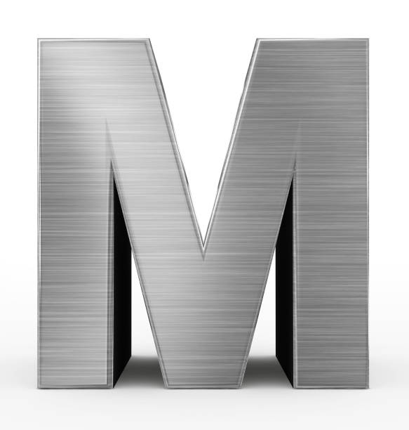 letter M 3d metal isolated on white stock photo