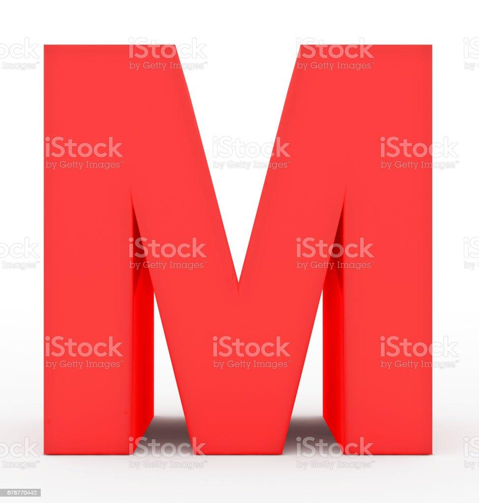 Buchstabe M 3d rot isoliert auf weiß – Foto
