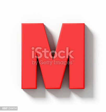 844515966 istock photo letter M 3D red isolated on white with shadow - orthogonal projection 688124414