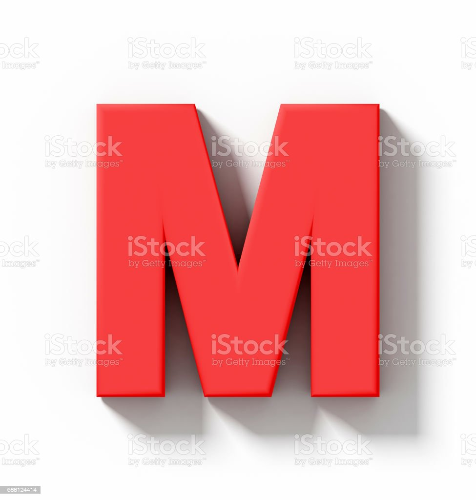 M&m Home Design Mooresville Nc Part - 27: Letter M 3D Red Isolated On White With Shadow - Orthogonal Projection Stock  Photo