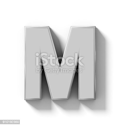 844515966 istock photo letter M 3D silver isolated on white with shadow - orthogonal projection 910192350