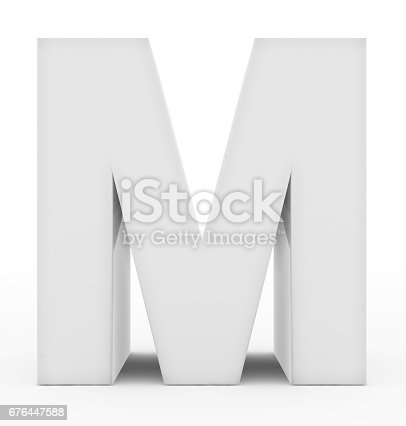 844515966 istock photo letter M 3d white isolated on white 676447588