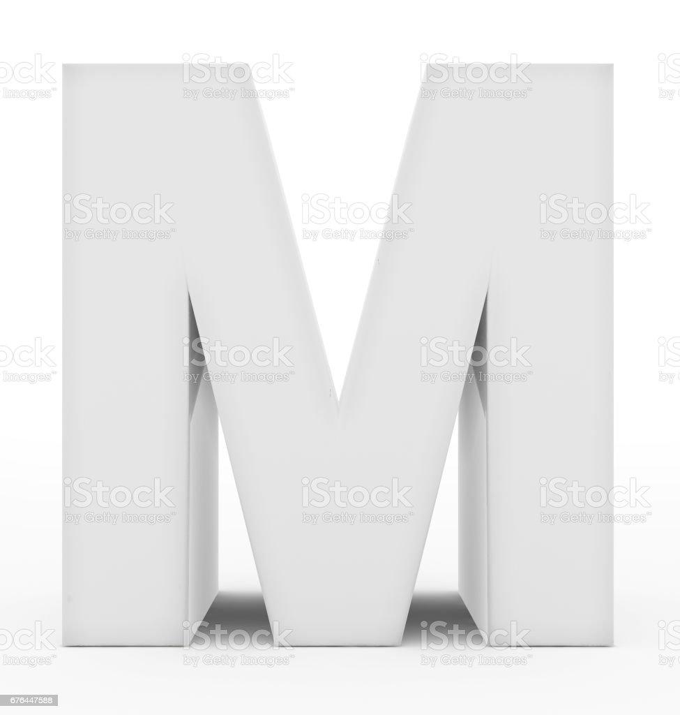 Buchstabe M 3d weiß isoliert auf weiß – Foto