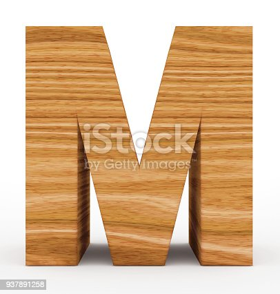 844515966 istock photo letter M 3d wooden isolated on white 937891258