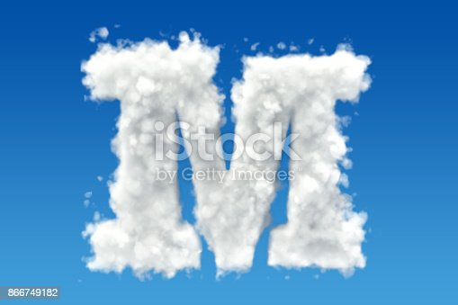 istock Letter M, alphabet from clouds in the sky. 3D rendering 866749182