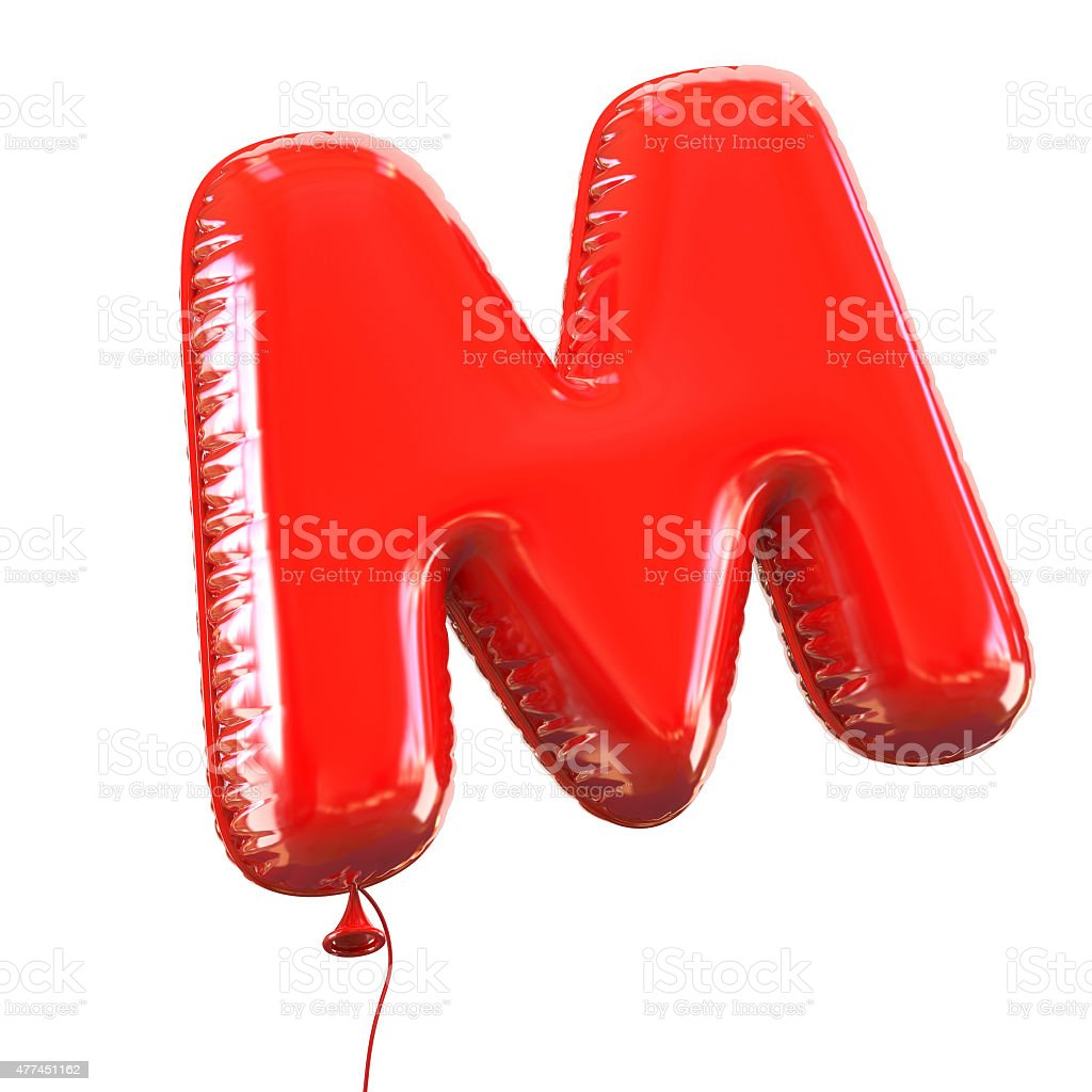 Letter M balloon font stock photo