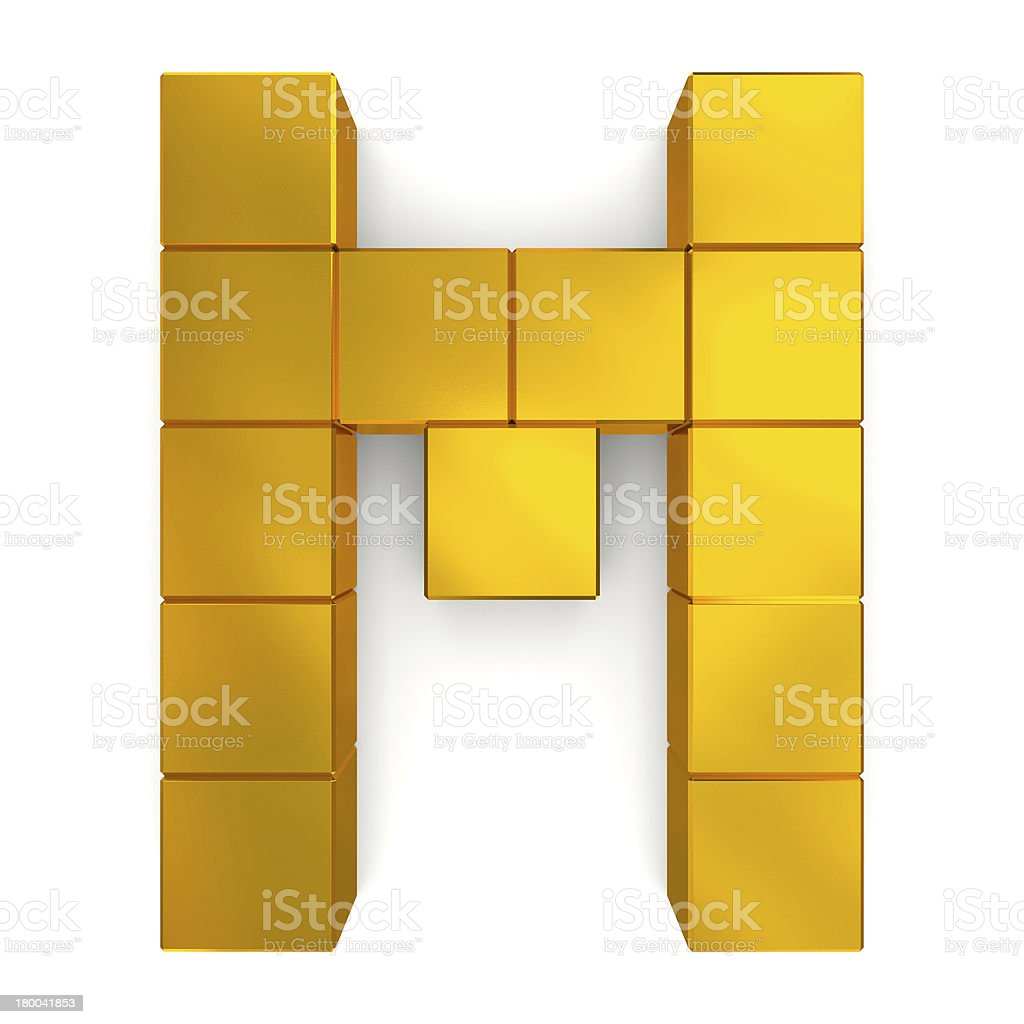 letter M cubic golden stock photo