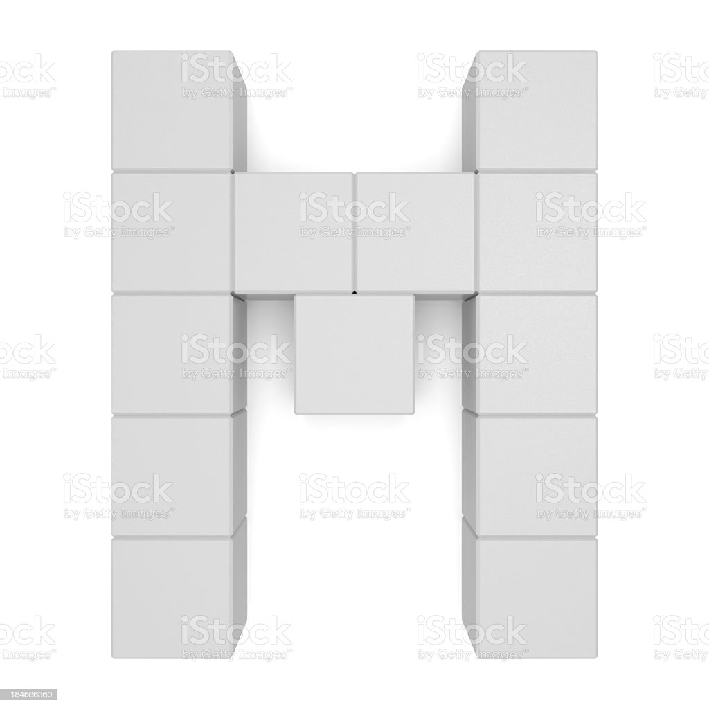 letter M cubic white royalty-free stock photo