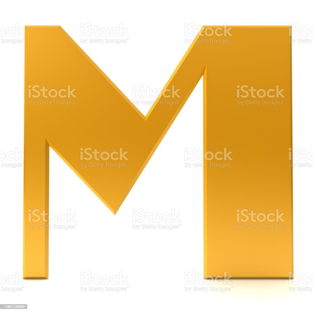 letter M gold 3d sign capital letter text render graphic alphabetic characters icon isolated on white background stock photo