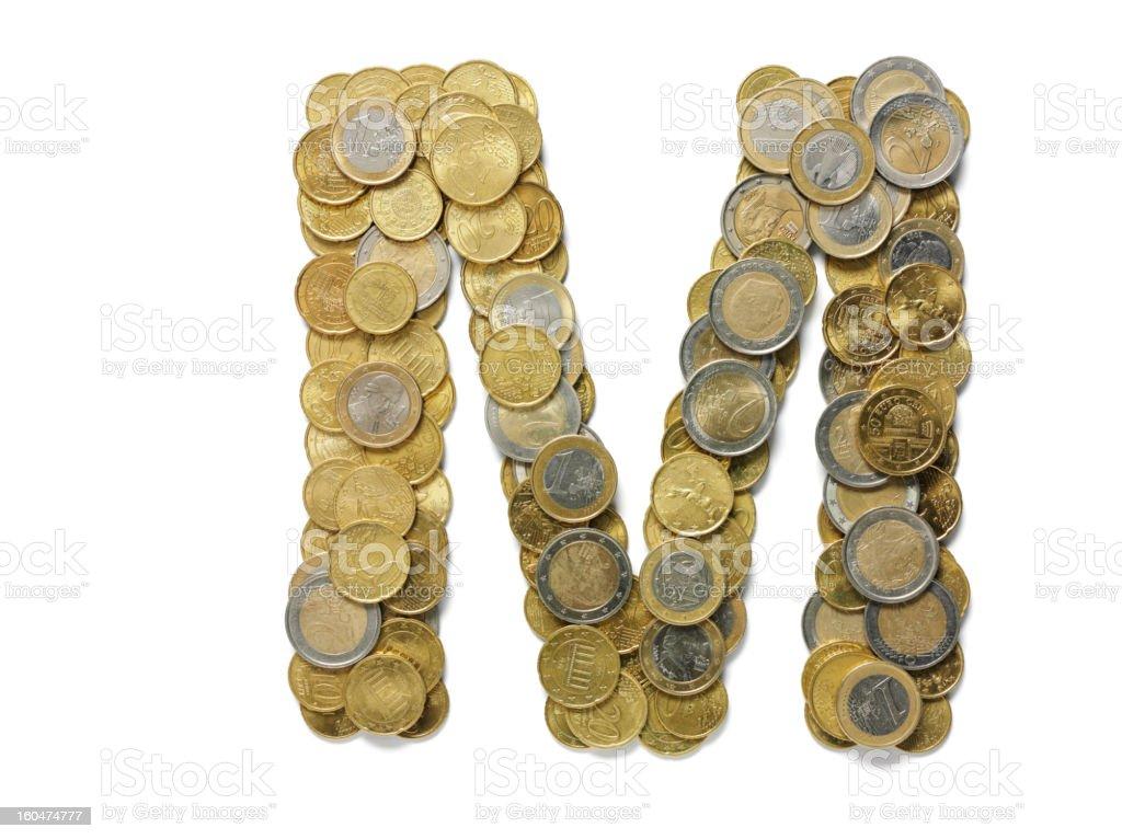 Letter M in Euros stock photo