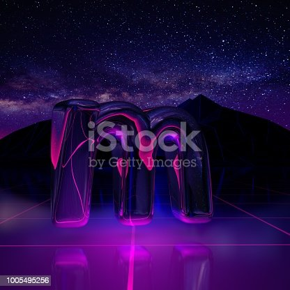 istock Letter M lowercase. 3D render font on retro background futuristic landscape 1980s style. 1005495256