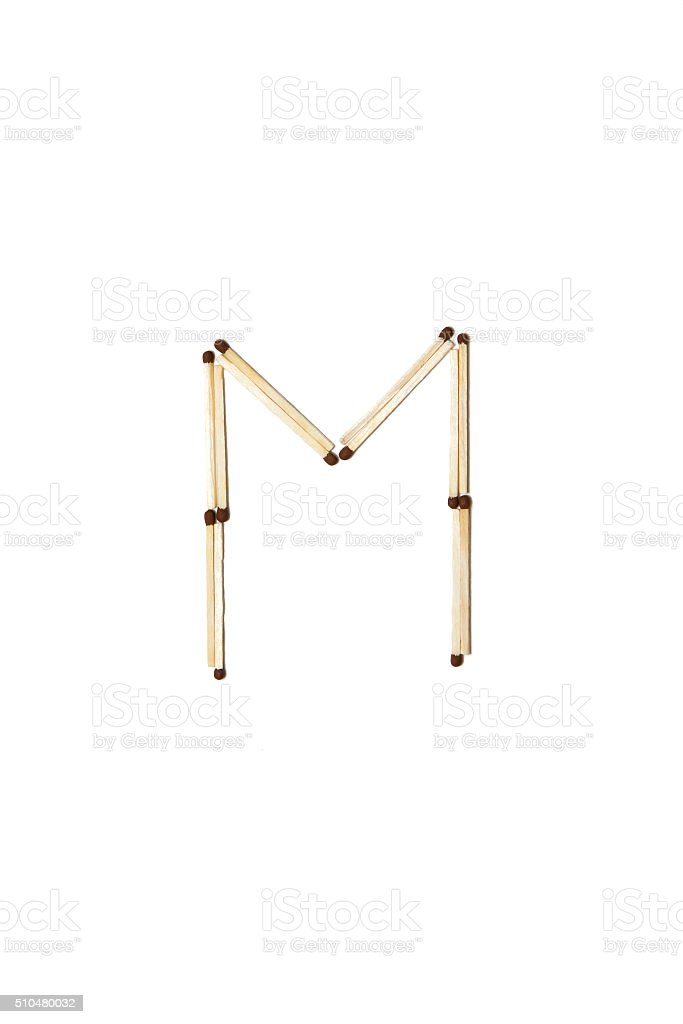 Letter Made Out Of Objects.Letter M Made Of Safety Match Stock Photo Download Image