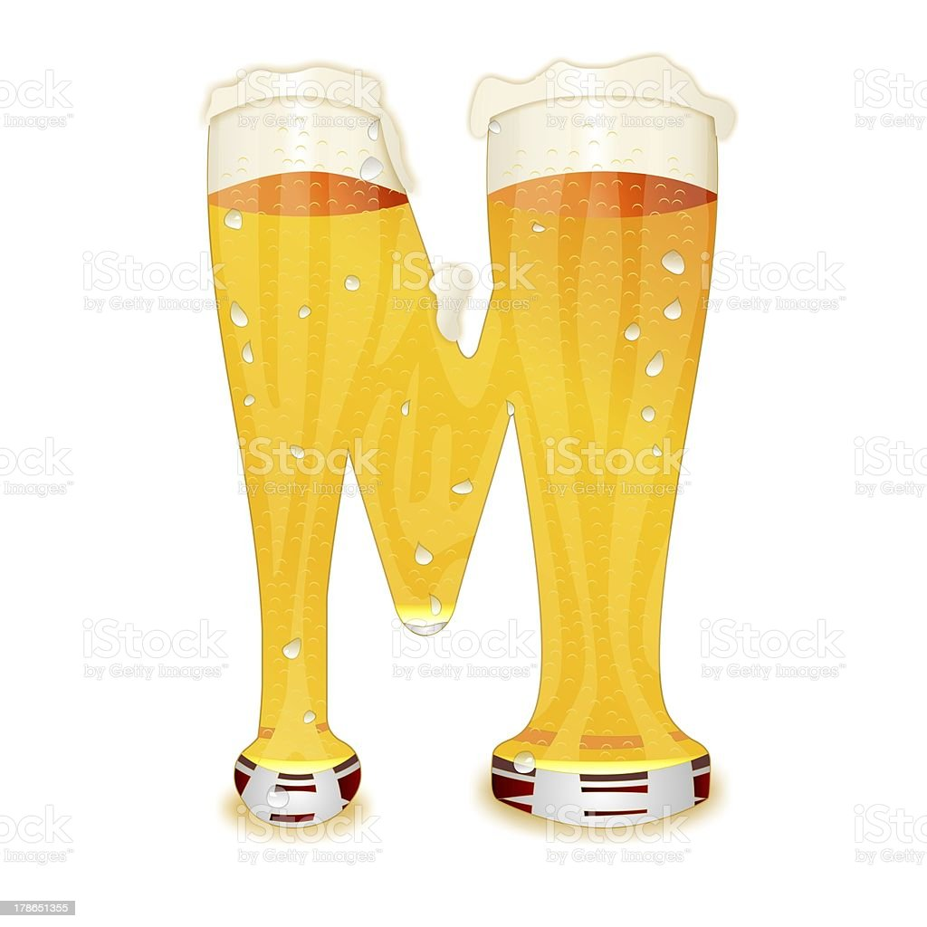 BEER ALPHABET letter M stock photo