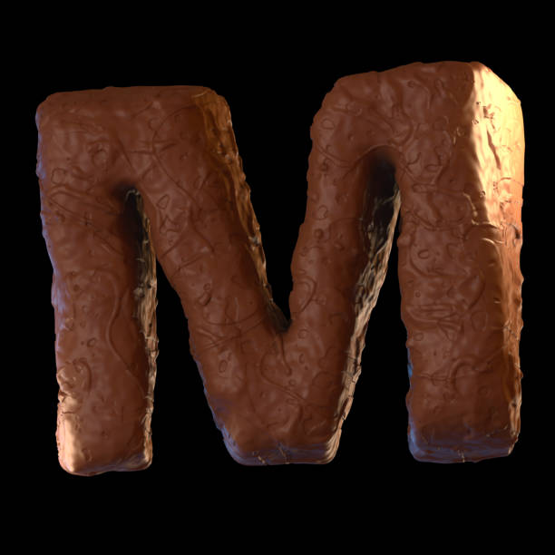 buchstabe m - schokolade typografie stock-fotos und bilder