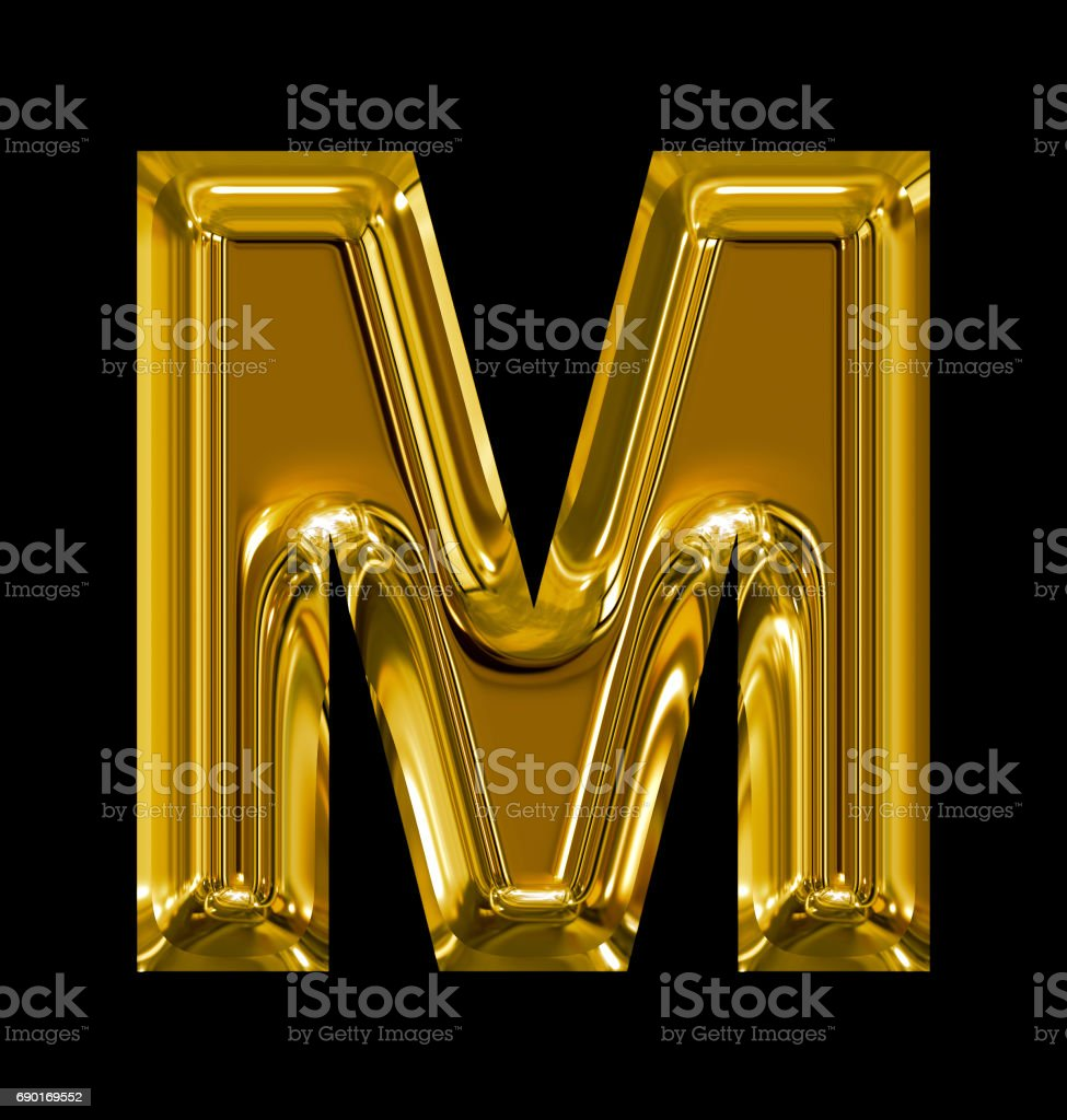 letter M rounded shiny golden isolated on black stock photo