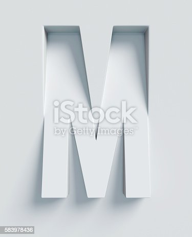 istock Letter M slanted 3d font engraved and extruded from surface 583978436
