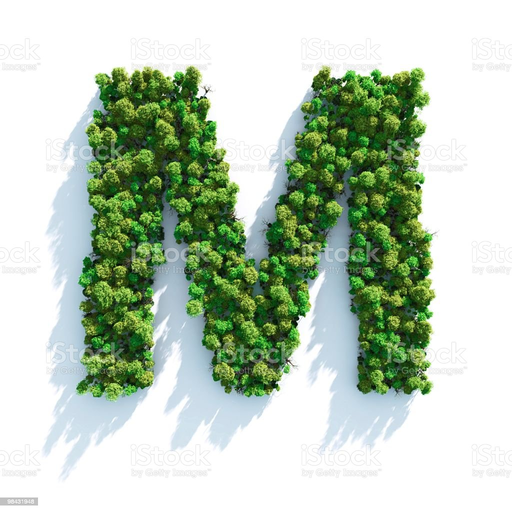 Letter M: Top View stock photo