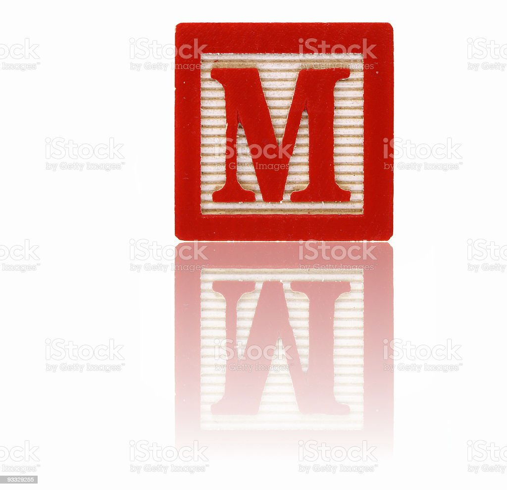 letter m - toy block series stock photo