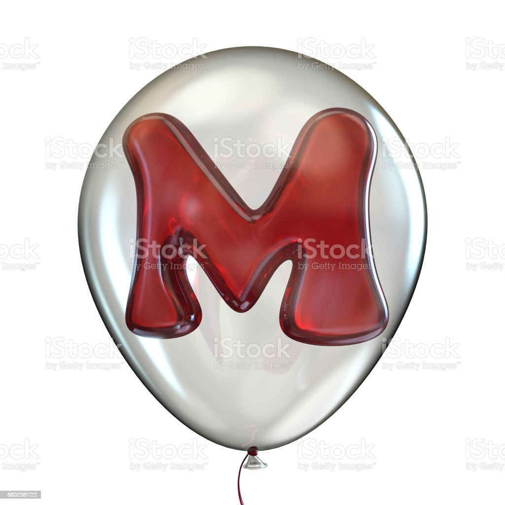 Letter M Transparent Balloon 3d Stock Photo More Pictures Of