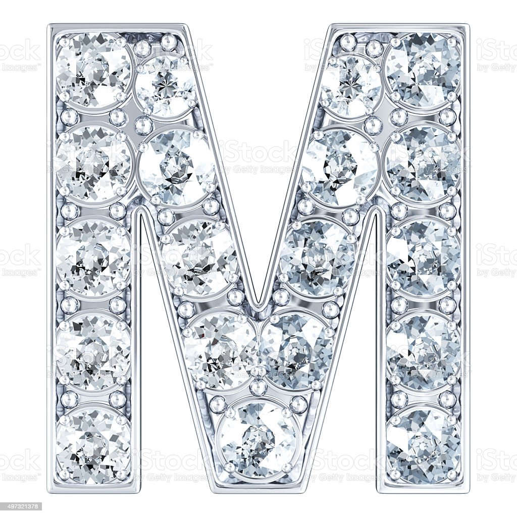 Letter M With Diamonds Royalty Free Stock Photo