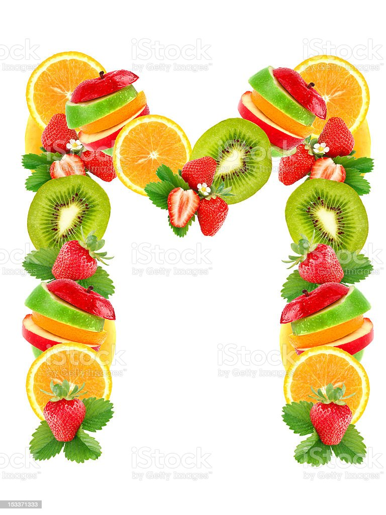 Letter M with fruit royalty-free stock photo