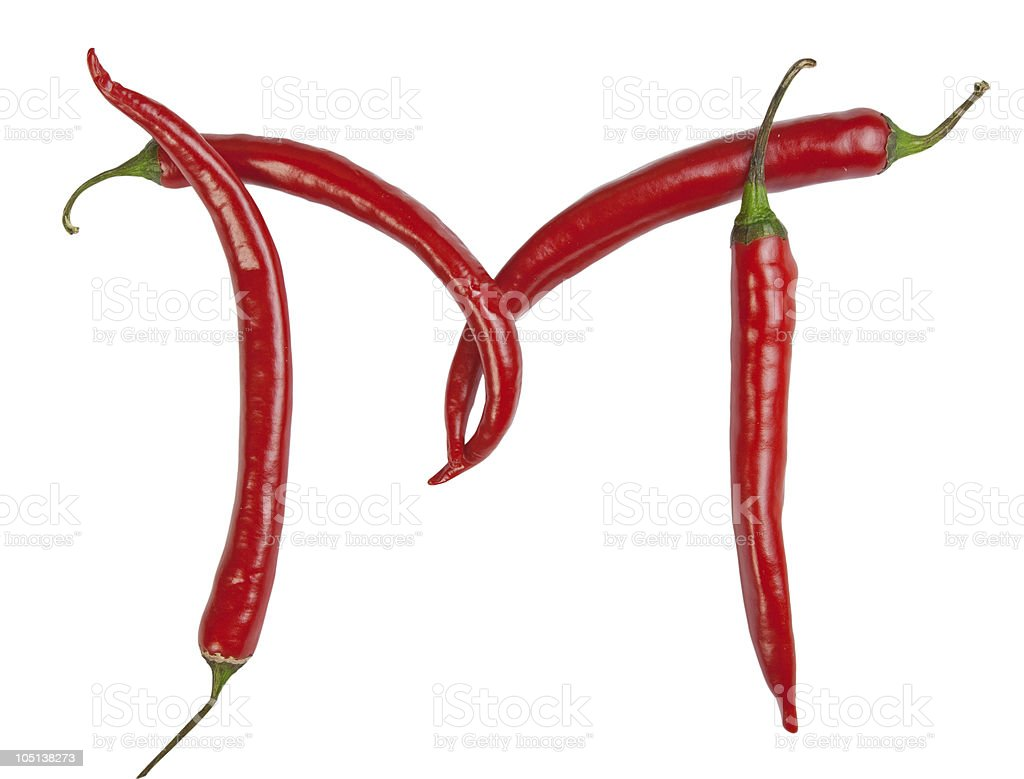 M letter made from chili royalty-free stock photo