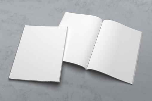 Us Letter Tijdschrift Of Brochure 3d Illustratie Mockup Op Textuur No 1 Stockfoto en meer beelden van Begrippen