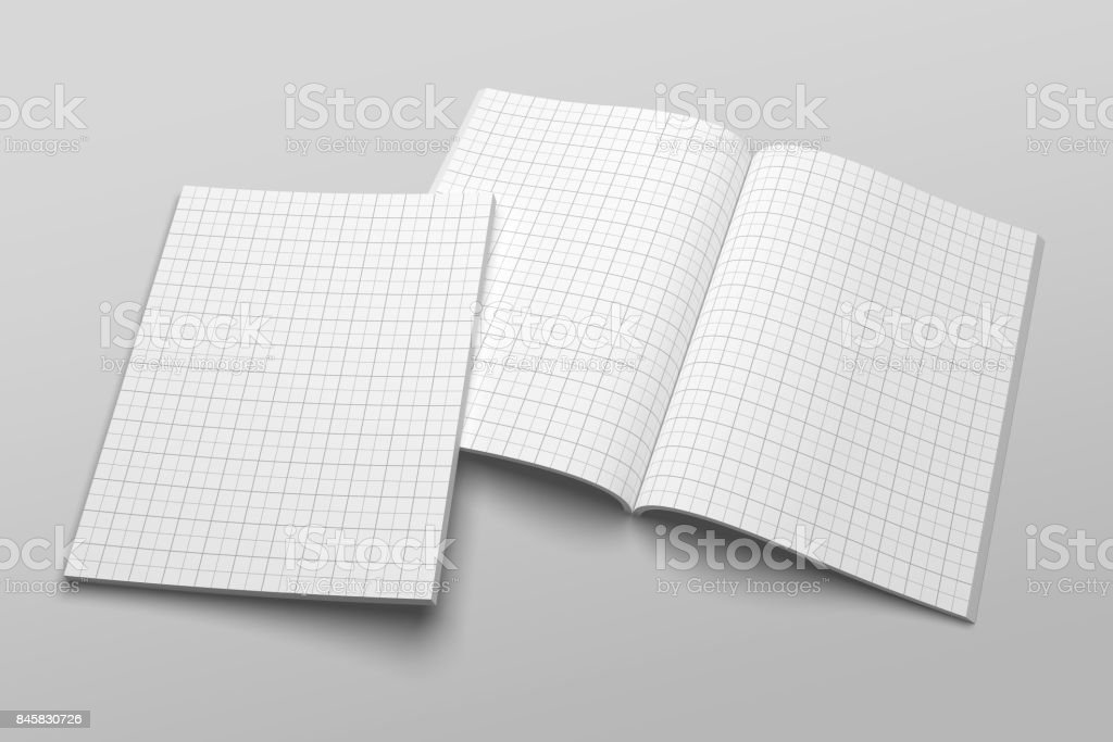 US Letter magazine or brochure 3D illustration mockup with grid No. 1 stock photo