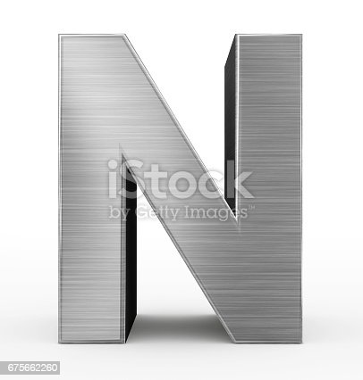 istock letter N 3d metal isolated on white 675662260
