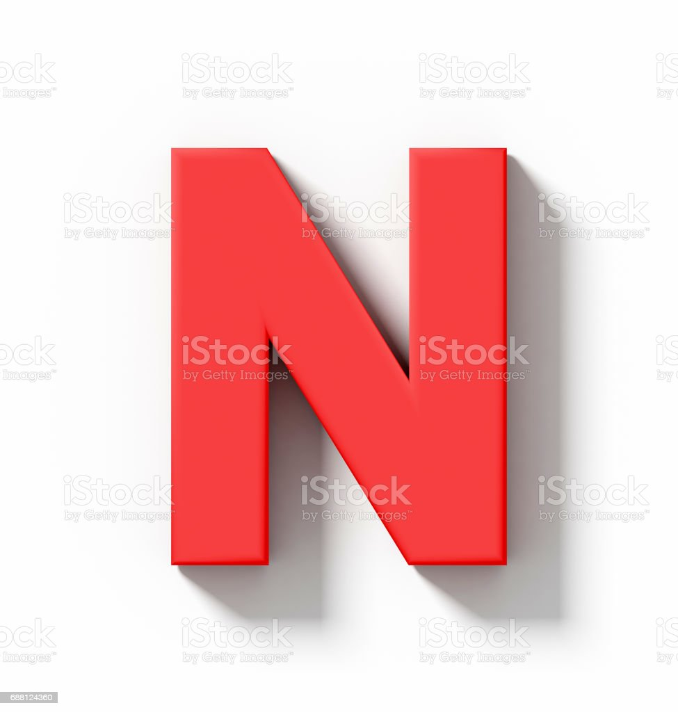 letter N 3D red isolated on white with shadow - orthogonal projection stock photo