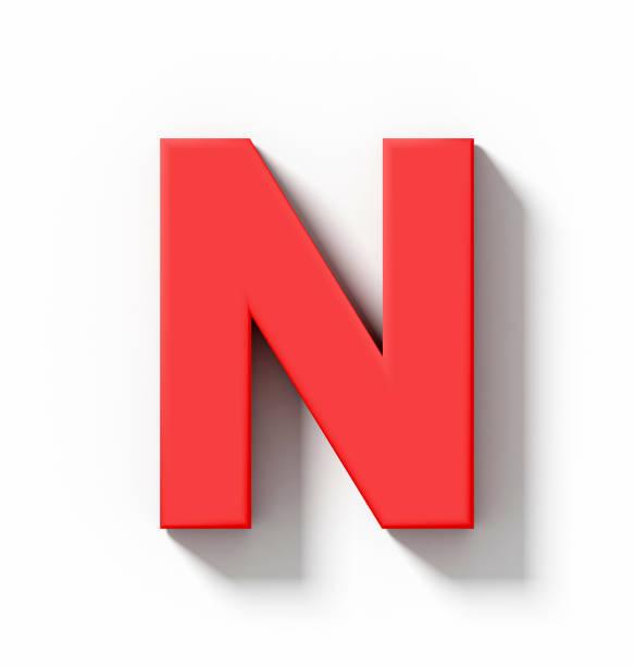 Buchstabe N 3D rot isoliert auf weiß mit Schatten - orthogonale Projektion – Foto